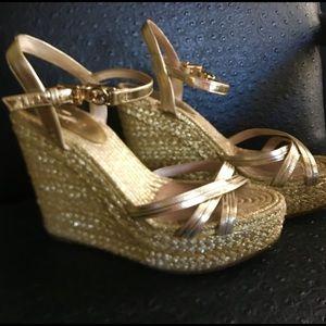 MK Gold espadrille platform sandals